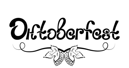 Oktoberfest Hand drawn lettering. Cones and leaves of hops
