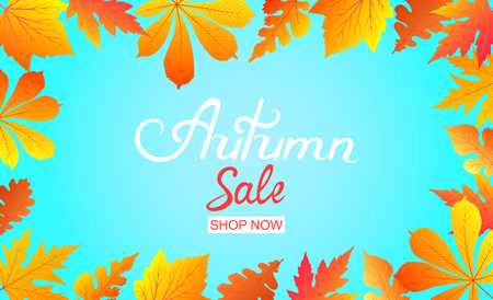Autumn Sale poster with falling leaves. Hand inscription. Stock Photo
