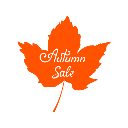 Autumn sale banner with hand drawn lettering. Maple Leaf Illustration