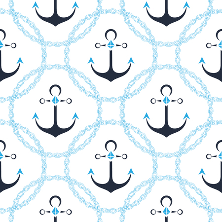 Anchor in a frame with a chain. Seamless sea pattern