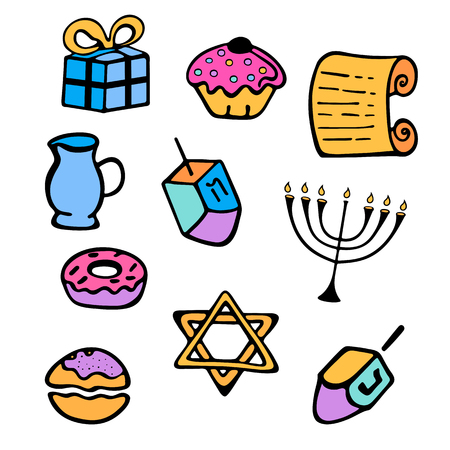 Hanukkah. A set of traditional attributes of the menorah, dreidel, candles, Torah, donuts in a doodle style