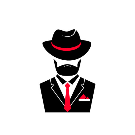 Bebaarde man in een hoed en in een jas met een stropdas. Gentleman-logo in maffia-stijl voor mannelijke winkel, een kapperszaak