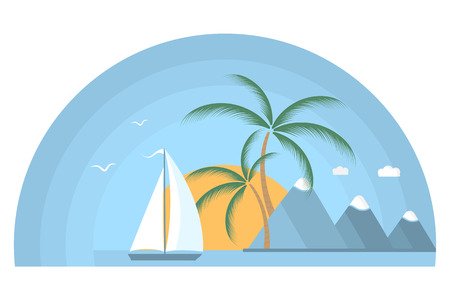 Ship with sails in the sea at sunrise. Tropical island with palm trees and mountains. Stock Photo