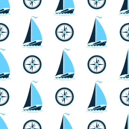 A sea pattern with a ship and a compass. Seamless background in a marine style Stock Photo