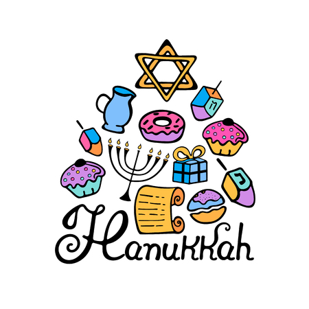 Hanukkah hand lettering. Menorah, dreidel, candles, olive oil, Torah, donuts in a doodle style in color