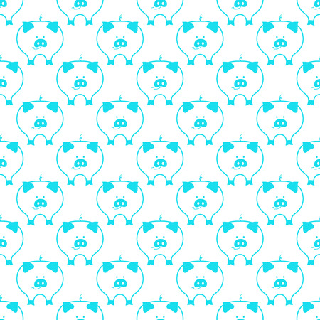 Cute smiling pig symbol of 2019 Chinese New Year seamless pattern Illustration