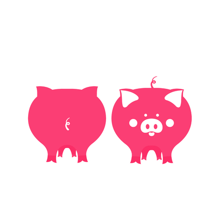 Cute pink pig front and back view. Symbol of 2019 Chinese New Year