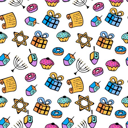 A set of traditional attributes of the menorah, dreidel, Torah, donut in a doodle style. Banque d'images - 111480154