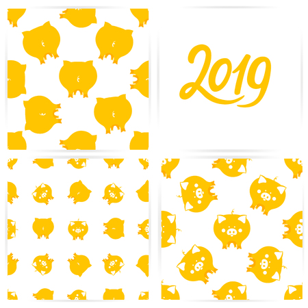 A set of  patterns with cute yellow pigs for the Chinese new year.