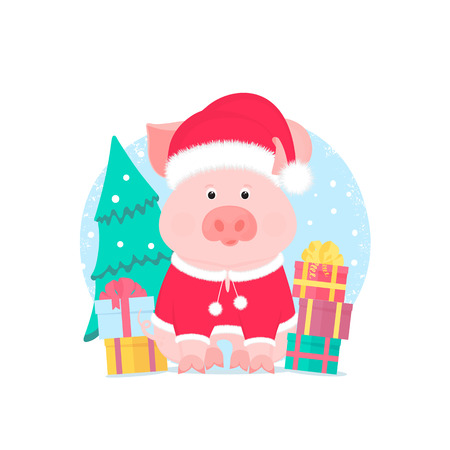 A cute pig in a suit and a Santa Claus hat with a furry pompon. Gift boxes, spruce.  イラスト・ベクター素材