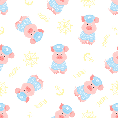 A funny piggy in a sailors sweater and captains hat Vectores