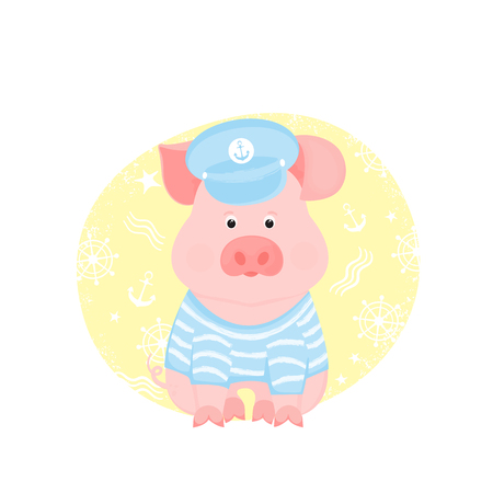 A funny piggy in a sailors striped T-shirt and captains visor