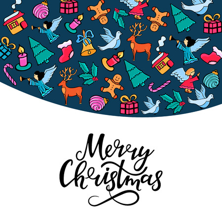 Merry Christmas hand lettering. Greeting card for the New Year holidays in doodle style Stock Photo