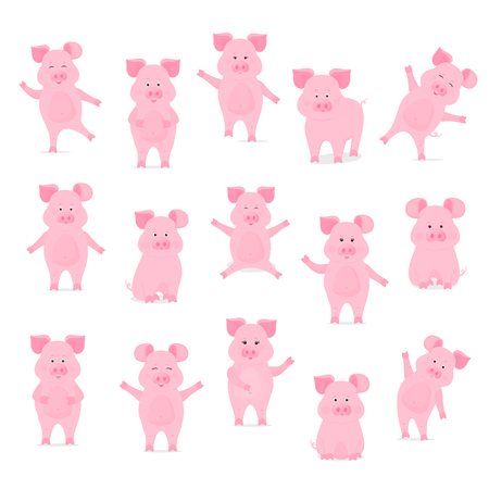 A set of cute pig characters in different poses
