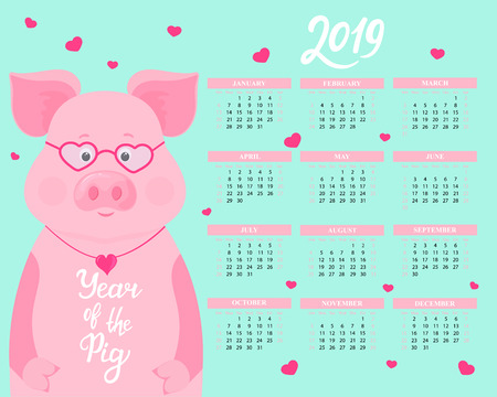 Calendar for 2019 from Sunday to Saturday.