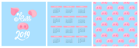Wall Calendar for 2019 from Sunday to Saturday. Illustration