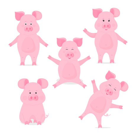 A set of cute piggy cartoon characters Иллюстрация