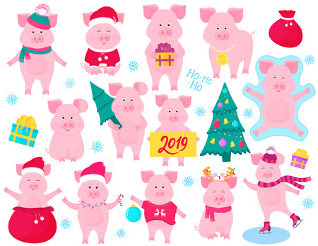New Year's set of cute pigs. Funny characters. Santa Claus costume, snow angel, piggy skating. Christmas fir tree decorated Illustration