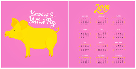 Wall Calendar for 2019 from Sunday to Saturday. Chinese New Year of the yellow earth pig.