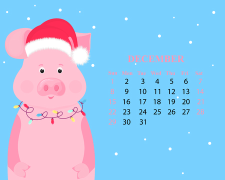 Monthly calendar for December 2019. Иллюстрация