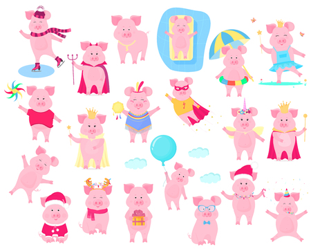 Un ensemble de personnages drôles de cochon.