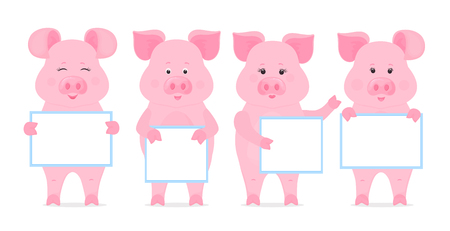 Pigs are holding blank sign, clean poster, empty poster, banner. Funny piglets Illustration