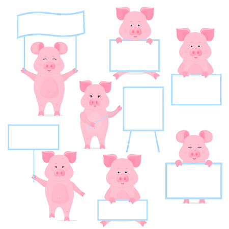 Pigs hold a blank sign, clean poster, empty poster, banner. Funny piggy Foto de archivo - 127340116
