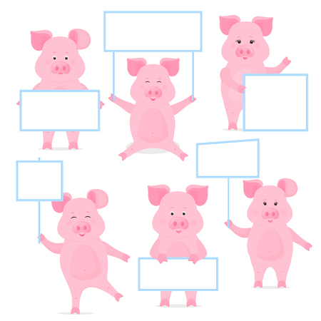Pigs hold a blank sign, clean poster, empty poster, banner Foto de archivo - 127208658