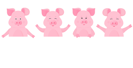 Pigs holding a blank sign, clean billboard. Place for your text. Cute piggy Foto de archivo - 127208659