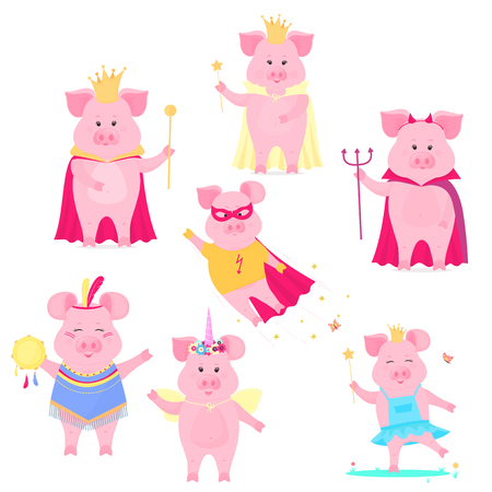 A set of funny pig characters. The king and queen, unicorn, superhero, devil on Halloween. Cute piggy. Vector hog Foto de archivo - 127109119