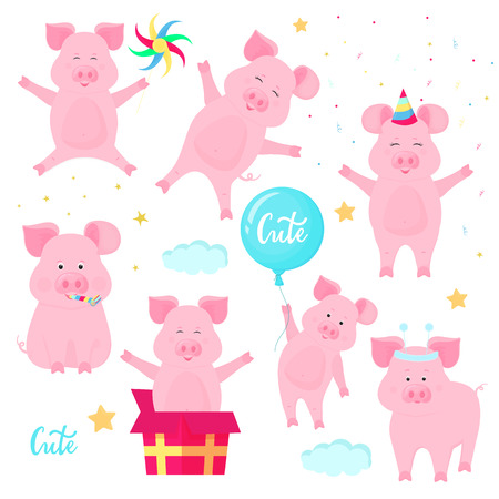 Funny pigs having fun. Cute piglets celebrate their birthday. Boars at a party