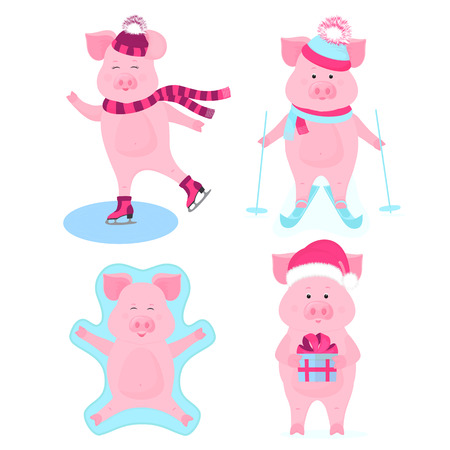 Funny hog on skates. Cute piggy skiing. Piglets on winter vacation. Pig in Santa's hat with gift box. Boar making snow angel while lying on snow. Foto de archivo - 127109121