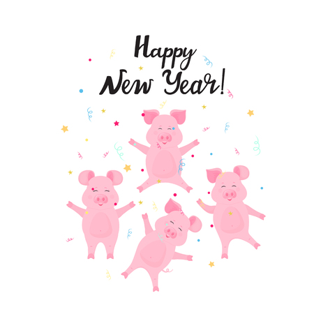 Happy new year hand drawn lettering and confetti. Cute pigs having fun. Celebration card Иллюстрация