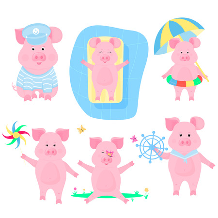 A set of funny pigs. Piggy sailor. Pigling with a swim ring and an umbrella from the sun. Piglet on an inflatable mattress in the pool. Boar walks with a windmill toy Foto de archivo - 127075661