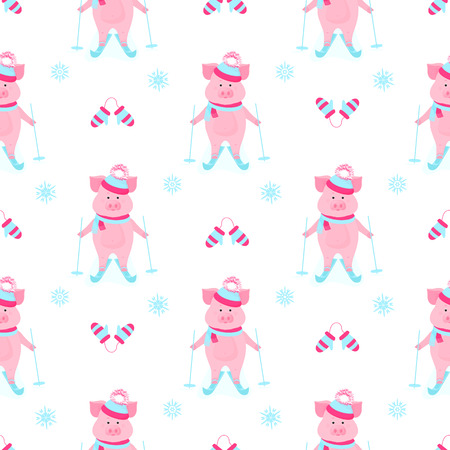 Cute piggy skiing. Piglets on winter vacation. Funny pig in a hat with a bushy pompon and a scarf. Cartoon boar outdoors. Seamless pattern