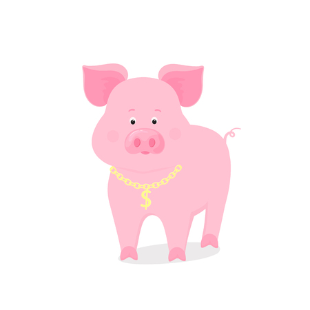 Funny piggy symbol of the Chinese New Year 2019.