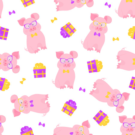 Cute pig sits in glasses and a bow tie. Funny piggy. Gift box tied with a ribbon with a bow. Seamless pattern Foto de archivo - 127075663