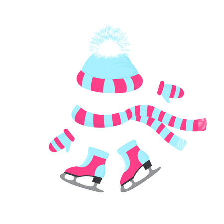 A hat with a fluffy pompon, a scarf, mittens. Skates with fur. Winter sports day. Knitted beanie. Winter outfit for outdoor activities Foto de archivo - 127046453