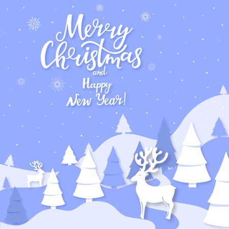 Winter landscape mountains, spruce, deer cut out of paper style. Merry Christmas and Happy New Year hand lettering greeting card Illustration