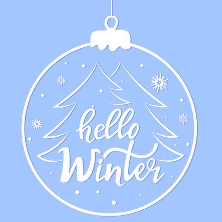 Hello winter hand letteruing. Christmas ball. Banner for new year sale Foto de archivo - 127016139