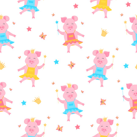 A cute pig princess in a dress and in the crown with a magic wand in hand