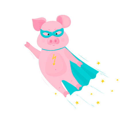 Pig superhero flies in mask and cape.