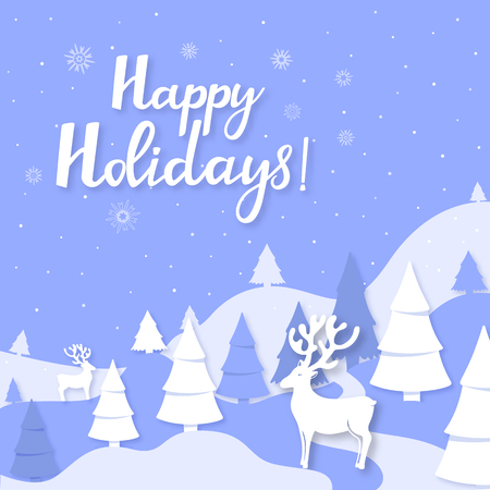 Winter landscape mountains, spruce, deer cut out of paper style. Happy holidays hand lettering. Greeting card for Christmas and New Year Foto de archivo - 126991990