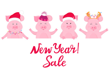 Pigs in Christmas costumes keep advertising banner. New Year Sale. Santa Claus hat, cap with furry hat