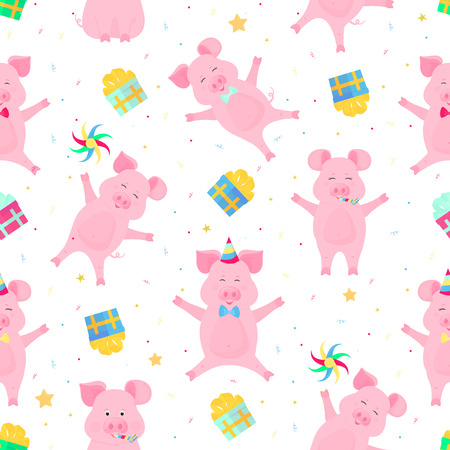 Cute pigs having fun. Funny piglets celebrate their birthday. Boars at a party seamless pattern Foto de archivo - 126941987