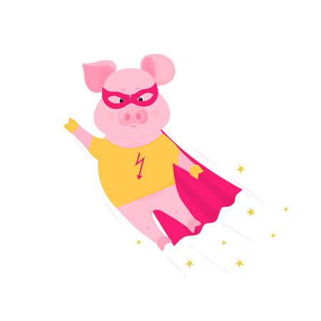 Funny pig in superhero costume flying. Cute piggy in a t-shirt and raincoat