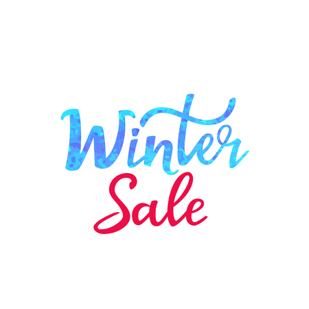 Winter sale hand lettering design with sparkles texture for advertising poster, banner, discount Foto de archivo - 126941993