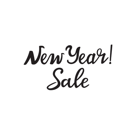 New Year Sale hand lettering design for advertising poster, banner, discount