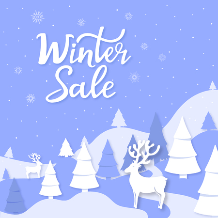 Winter sale hand lettering. Landscape mountains, spruce, deer cut out of paper style. Advertising poster, banner for Christmas and New Year. Foto de archivo - 126833507