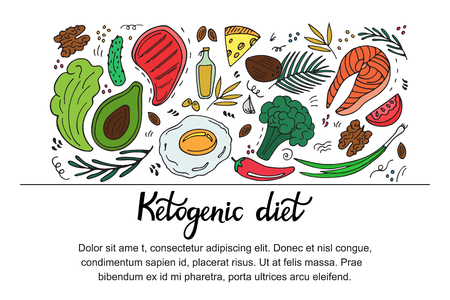 Ketogenic diet horizontal banner in hand drawn doodle style. Low carb dieting. Paleo nutrition. Keto meal protein and fats